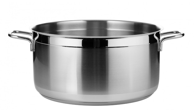Stainless steel pot isolated on white surface