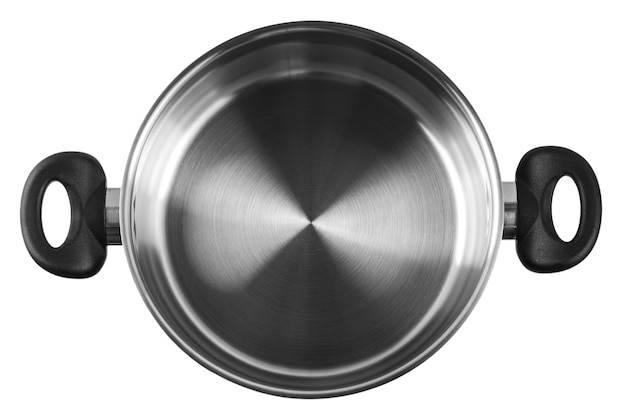 カバーなしのステンレス鋼の鍋。白で隔離