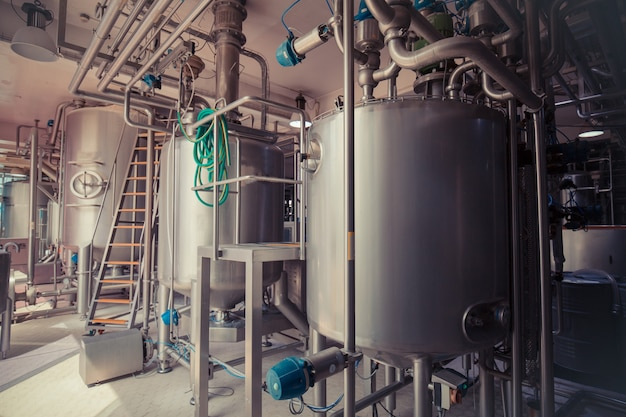 Stainless steel  reservoirs pipes, tanks for the modern milk cellar with stainless steel tanks