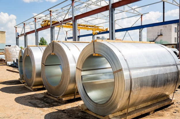 Stainless steel rolls in the warehouse