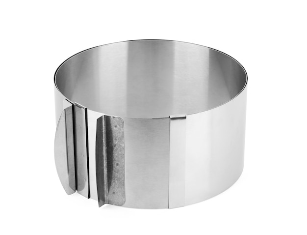 Stainless steel round cooking mold isolated on white