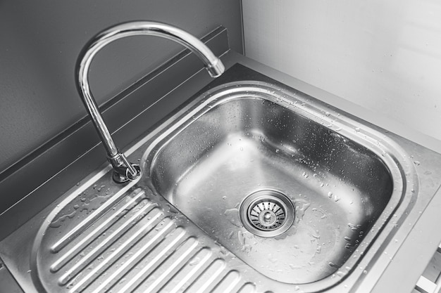 Stainless steel sink basin for washing or cleaning utensil in the kitchen