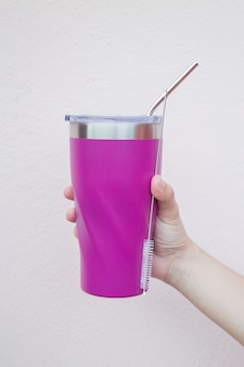 Stainless steel straw and thermos mugs for reusable set