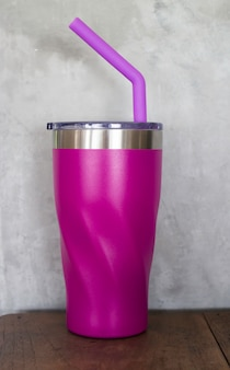 Stainless steel thermos mugs and silicone straw for reusable set