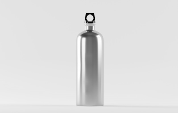 Stainless steel water bottle isolated on white