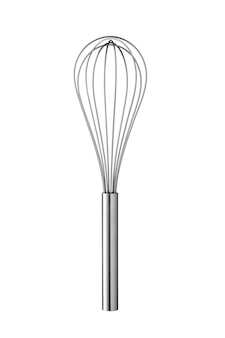 Stainless steel whisk isolated on white