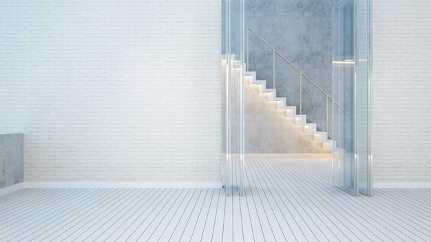 빈 방 화이트 톤의 계단-3d 렌더링