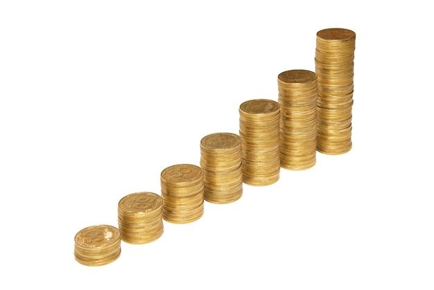 흰색 절연 황금 동전의 부에 계단