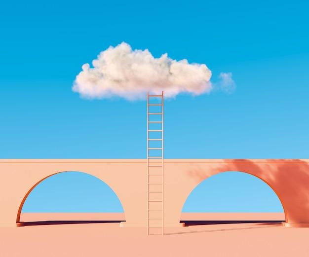 Лестница с белым облаком в голубом небе современный минимальный абстрактный фон
