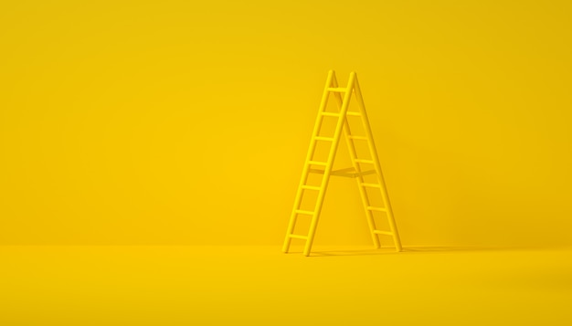 Stair on yellow background