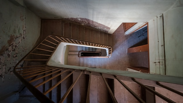 Staircase of an old house seen from above