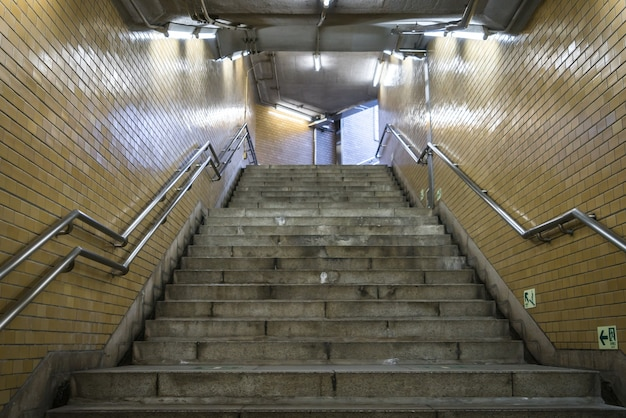 Staircase in subway station .