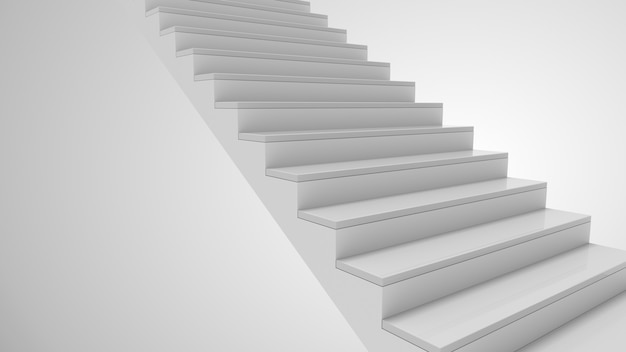 Staircase up in white interior