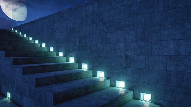 照明付きの階段は屋上デッキにつながる大きな月の背景を持つ建物の外観