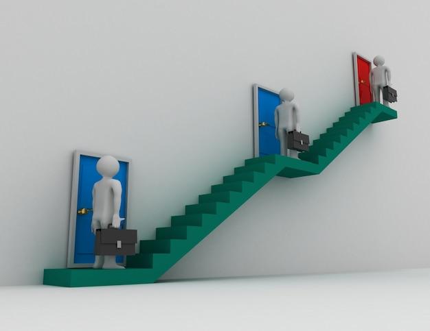 3개의 문이 있는 계단과 높은 계단이 가장 좋습니다. 3d 렌더링 된 그림