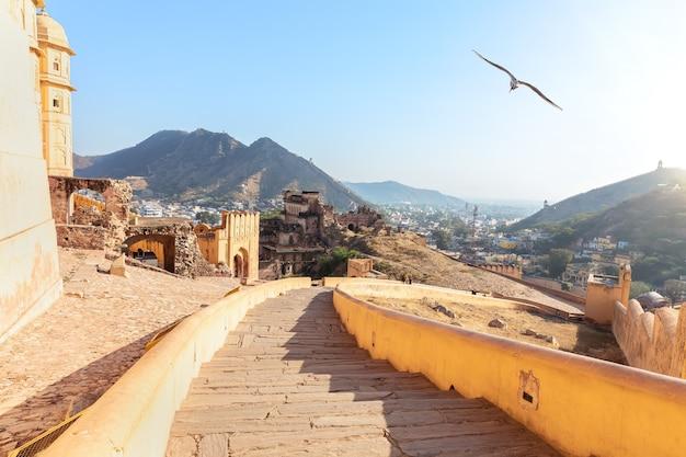 Stairs of amber fort and amer view, india, jaipur. Premium Photo