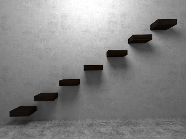 部屋の壁の背景に階段のケースまたはステップのコンセプト