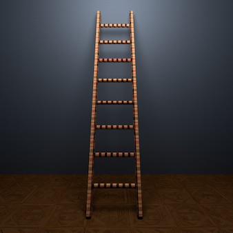 Stairs case or steps concept in room wall background