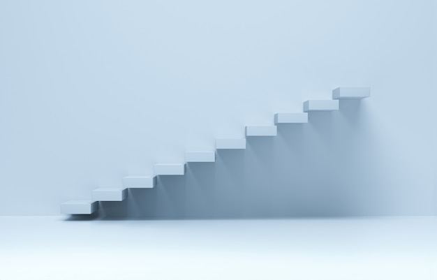 Лестница идет вверх. рост бизнеса, достижение вперед. 3d-рендеринг.