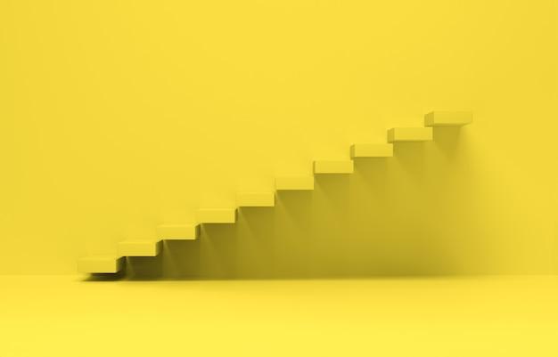 Лестница идет вверх с желтым фоном. подъем бизнеса, поступательное достижение. 3d-рендеринг.