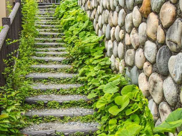 Stairs made of stones with plants and stone walls on the sides.