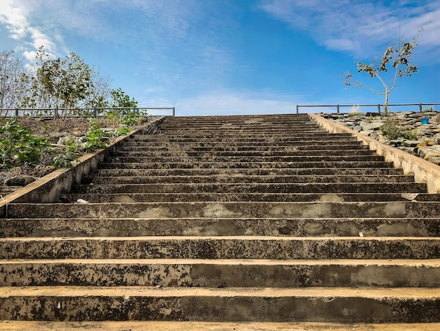 Stairs the mekong river in mukdahan