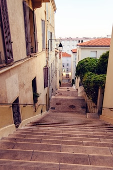 Stairs to a narrow street in cannes