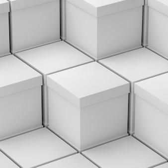 Лестница из белых пустых упрощенных картонных коробок