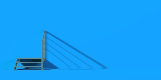 Лестница на синем фоне. баннер. 3d иллюстрации.