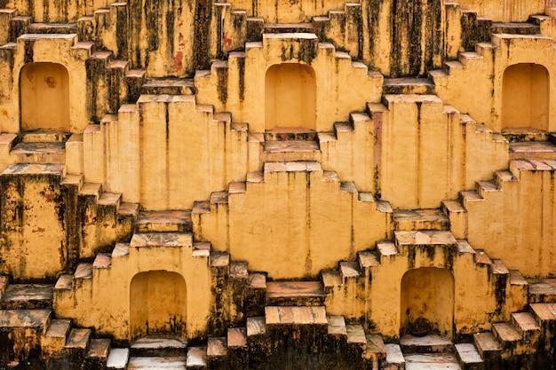 Stairs of panna meena ka kund stepwell in jaipur, rajasthan, india