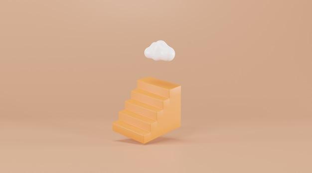 雲が上にある階段。 3dレンダリング。成功の創造的な概念。