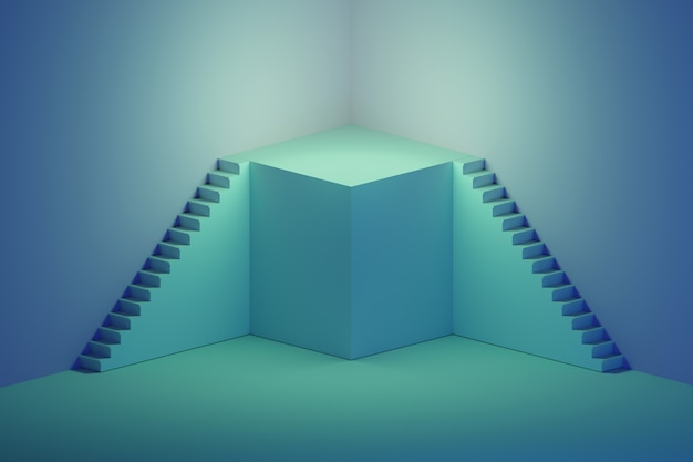 Stairs with podium on blue