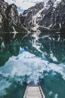 Stairway to heaven. lago di braies (pragser wildsee) in south tyrol, italy.