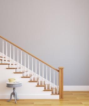 현대 집의 계단. 3d 렌더링.