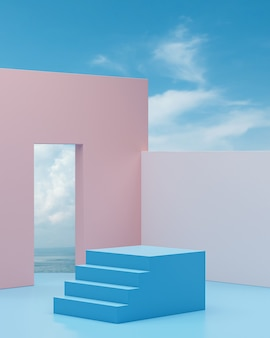 Stairway podium stage with blue sky and ocean background for product placement 3d render