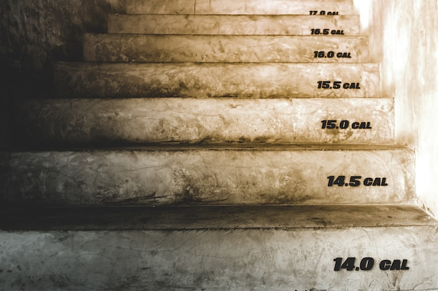 The stairway that has numbers