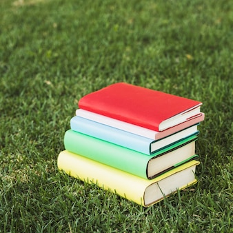 Staked colorful books on green lawn in park
