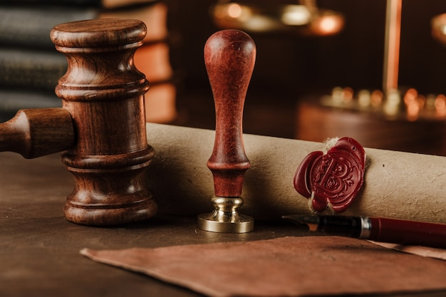 Stamp, gavel and testament. notary public tools