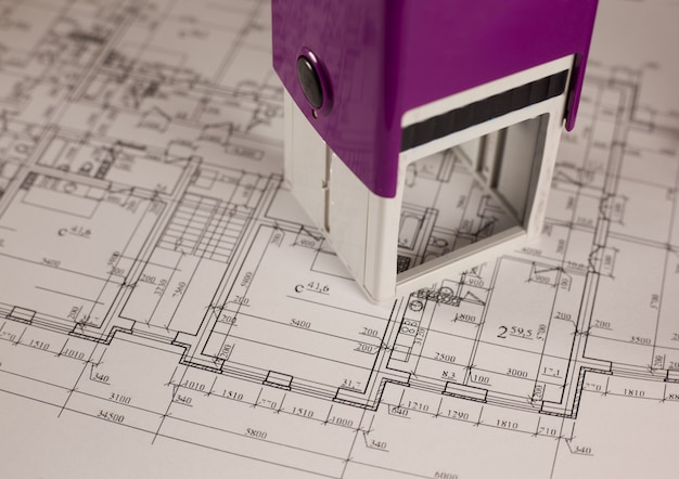 家の背景の計画にスタンプします。