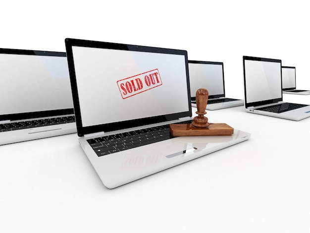Марка продается на экране ноутбука, 3d-рендеринг