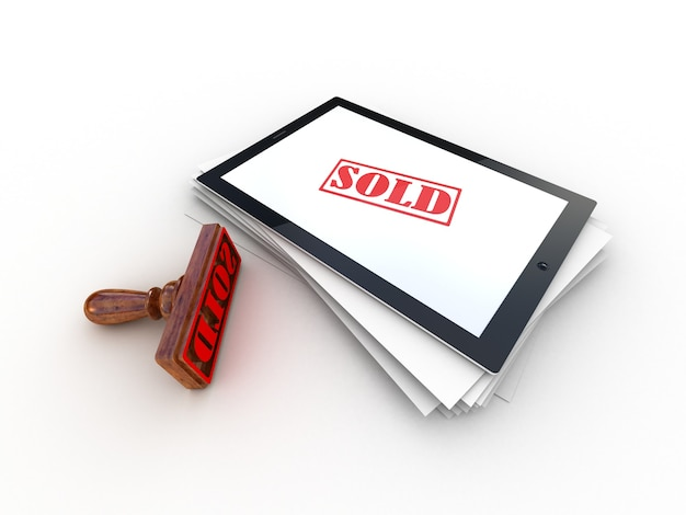 Марка продается на экране планшетного компьютера, 3d-рендеринг