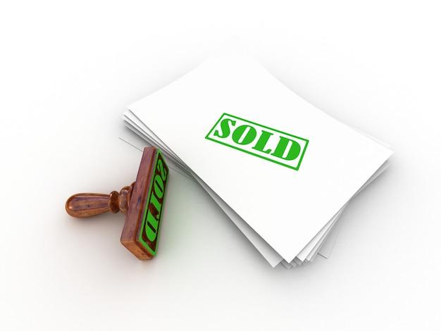 Марка продается на белой бумаге, 3d-рендеринг