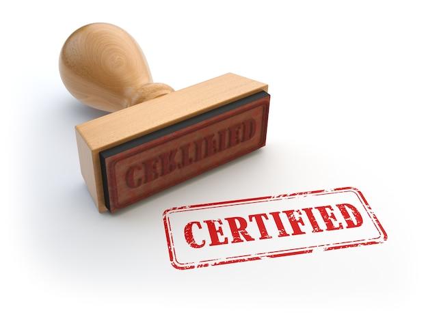 Штамп с сертифицированным текстом на белом. концепция сертификата или гарантийного сертификата. 3d