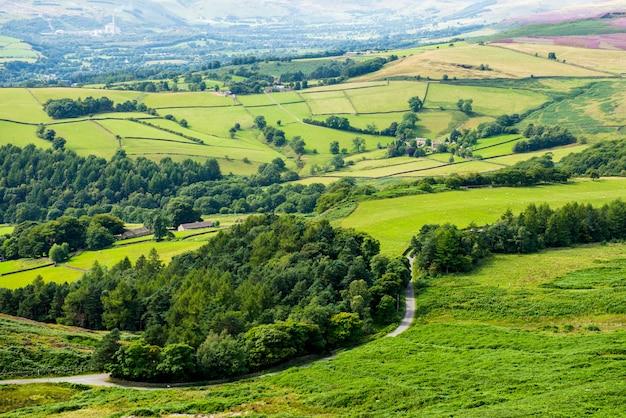 Stanage端、hathersageからの丘の上の美しい景色