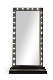 Stand dress mirror with lamps bulbs frame isolated on white