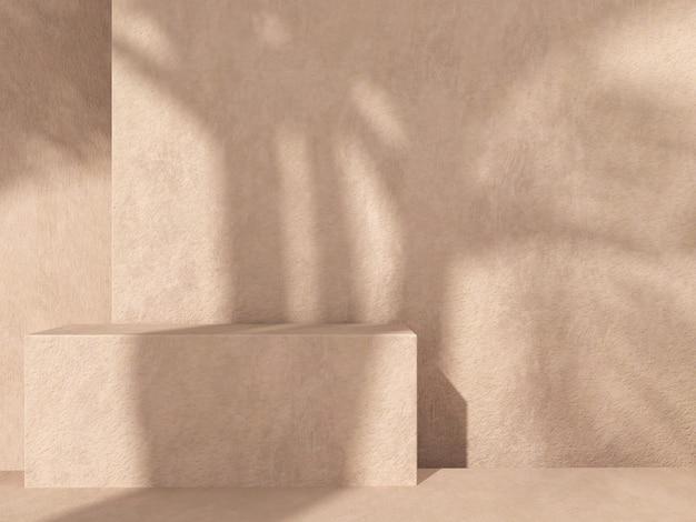 壁に植物と影のある目立たない背景に製品のプレゼンテーションを表す