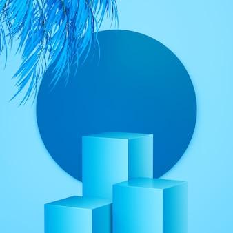 Стенд для продуктов или рекламы в синих тонах с 3d-рендерингом листьев