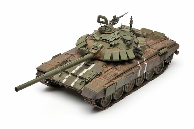 Stand model of a military battle tank on a white surface