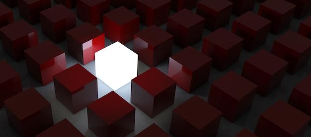 群衆とさまざまな創造的なアイデアの概念から際立って、反射と影のある暗い夜の背景で他の薄暗い立方体の中で輝く1つの輝く光の立方体。 3dレンダリング