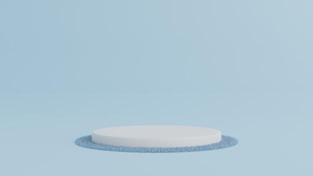 製品、最小限のコンセプトのカーペットと青い色の背景に表彰台を立ってください。 3dレンダリング